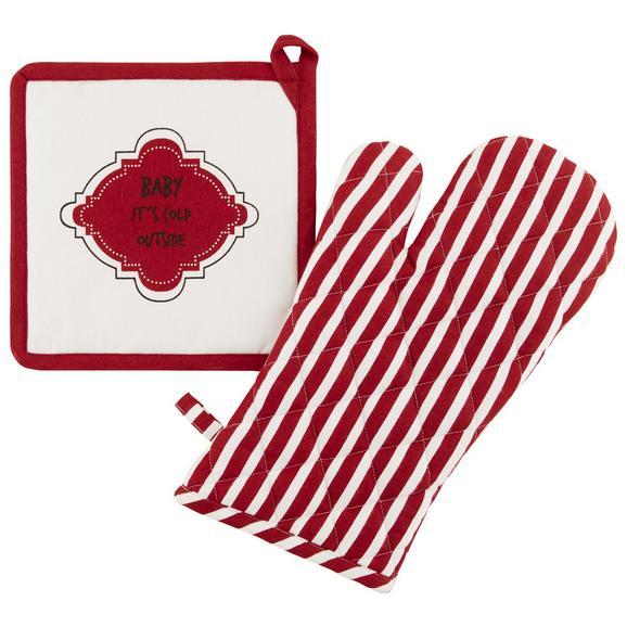 Topflappen und Handschuh Baby it's cold in Rot/Weiß - Rot/Weiß, Textil (18/32cm) - Modern Living