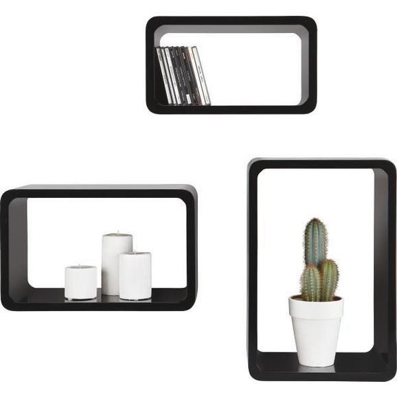Falipolc Trient - Fekete, modern, Faalapú anyag/Műanyag (45/40/35/30/25/20/20cm) - Mömax modern living