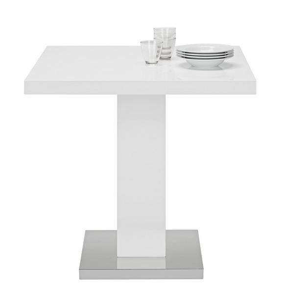 Esstisch in Weiß Hochglanz - Chromfarben/Weiß, MODERN, Holzwerkstoff/Metall (80/75/80cm) - Premium Living