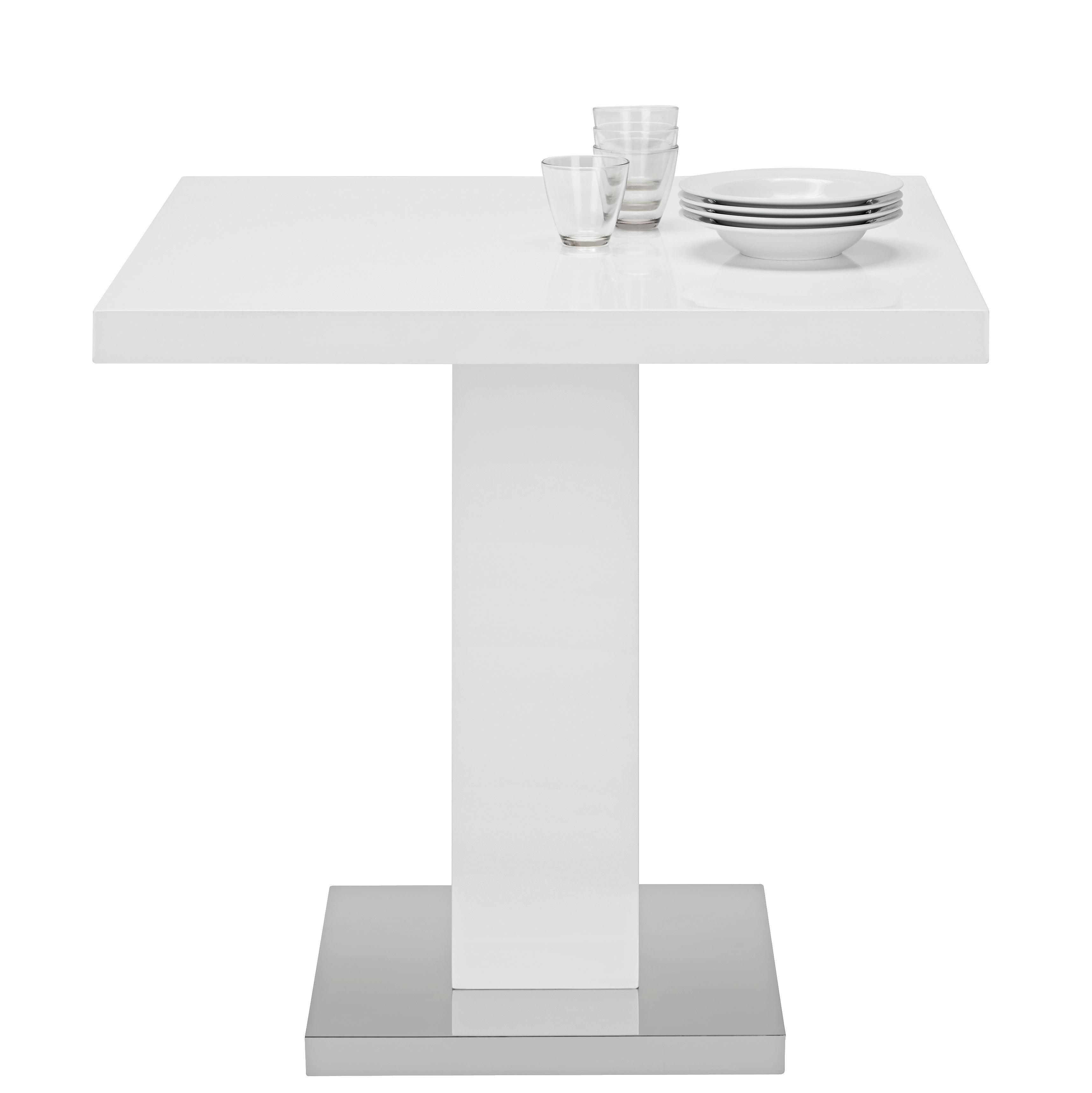 Étkezőasztal Campino - krómszínű/fehér, modern, fém/faanyagok (80/75/80cm) - MÖMAX modern living