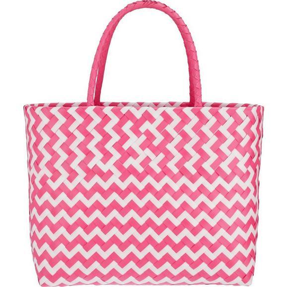 Einkaufskorb Kaia in Pink/Weiß - Pink/Weiß, LIFESTYLE, Kunststoff (39/34/19cm) - Modern Living