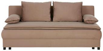 Schlafsofa mit Bettkasten - Hellbraun/Dunkelbraun, MODERN, Kunststoff/Textil (202/80/91cm) - premium living
