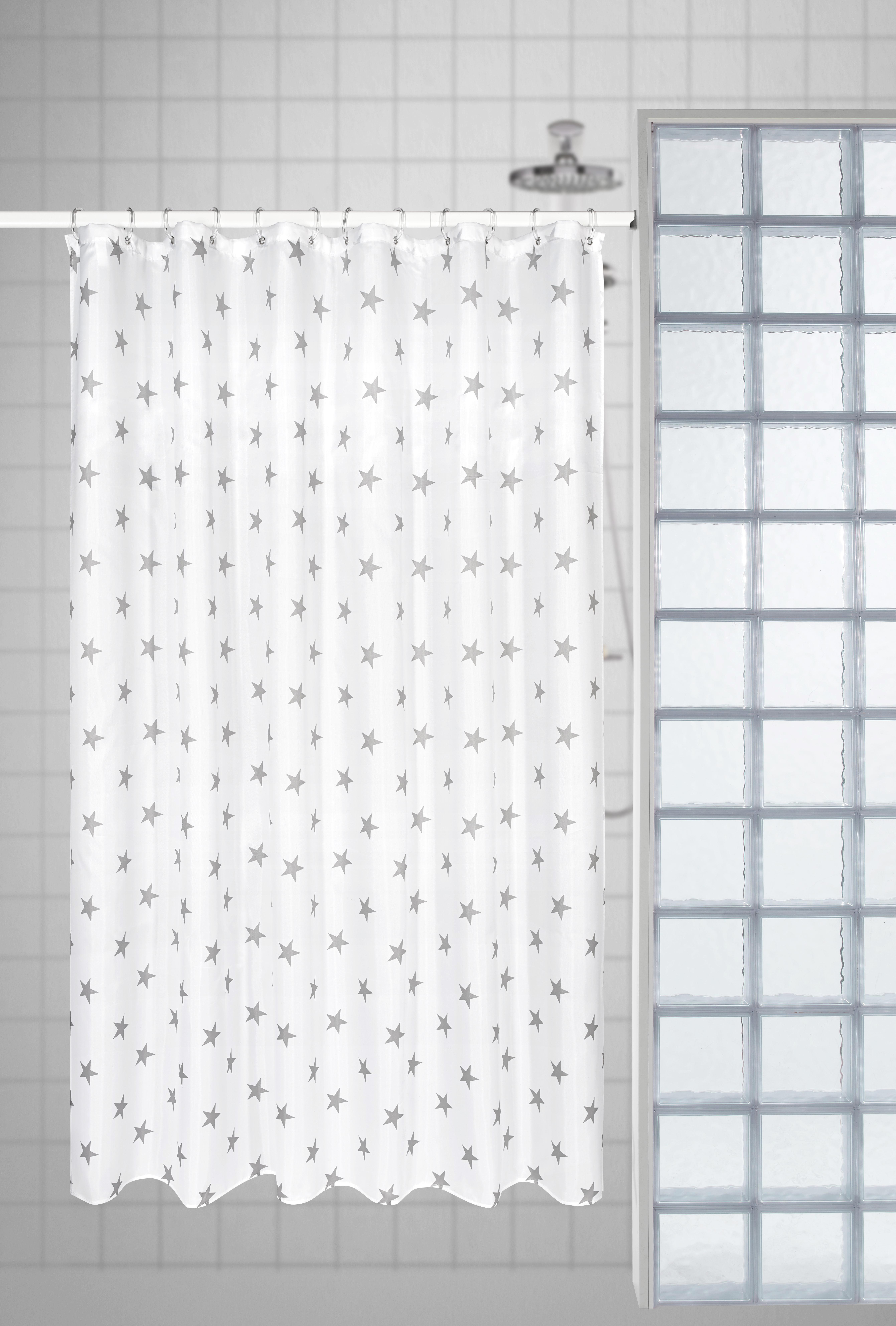 Duschvorhang Sterne,  ca. 180x180cm - Petrol/Weiß (180/180cm) - MÖMAX modern living