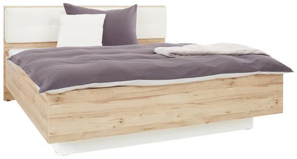 Bett Weiß/Eiche 180x200cm - Eichefarben/Weiß, KONVENTIONELL, Holzwerkstoff/Kunststoff (208,7/186,9/98,7cm) - PREMIUM LIVING
