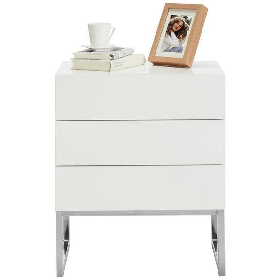 Nachtkästchen in Weiß - Silberfarben/Weiß, MODERN, Holzwerkstoff/Metall (50/60/40cm) - Premium Living