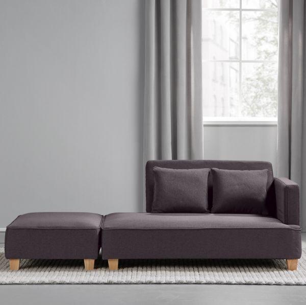 Chaiselongue Inkl. Hocker Violetta   Grau, MODERN, Holz/Textil (131/
