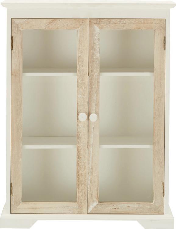 Hängevitrine aus Holz in Weiß/Natur - Klar/Braun, Glas/Holz (32/41,5/11cm) - Mömax modern living