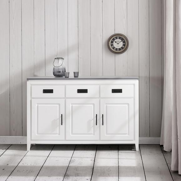 SIDEBOARD in Weiß/Grau 'Liana' - Weiß/Grau, MODERN, Holz/Metall (120/80,5/40cm) - Bessagi Home