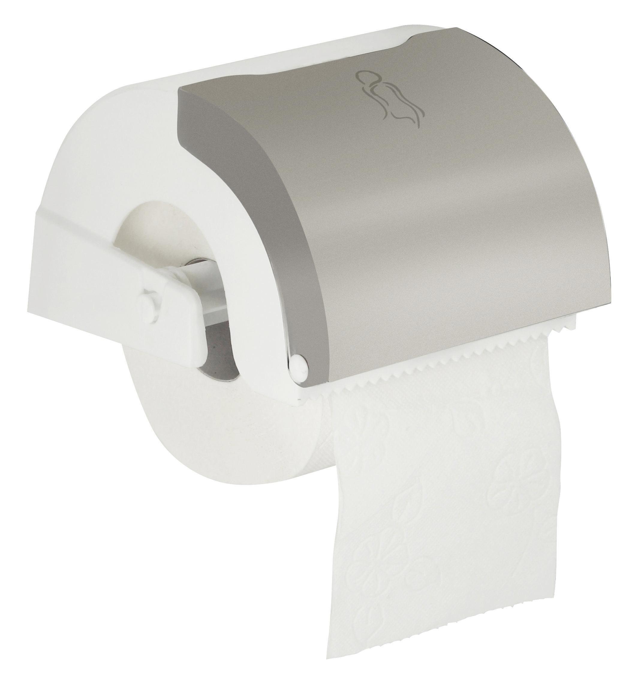 Toilettenpapierhalter Fm - Edelstahlfarben/Weiß, Kunststoff/Metall (16/13,5/10cm) - MÖMAX modern living