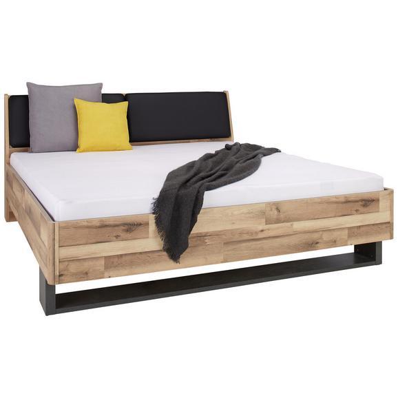 Bett in Eichefarben ca. 180x200cm - Eichefarben/Dunkelgrau, KONVENTIONELL, Holzwerkstoff/Kunststoff (186,4/95,5/221,8cm) - Modern Living
