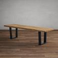 Bank Kayla aus Eiche Echtholz - Eichefarben/Schwarz, MODERN, Holz/Metall (175/46/45cm) - Modern Living