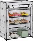 Schuhregal in Schwarz/Weiß - Schwarz/Weiß, MODERN, Kunststoff/Textil (69/90/33,5cm) - Mömax modern living