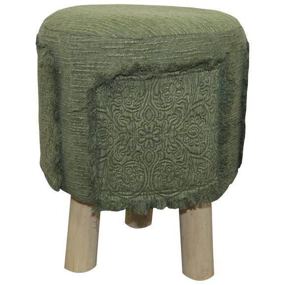Hocker Mila Grün/naturfarben - Naturfarben/Grün, ROMANTIK / LANDHAUS, Holz/Textil (30/40/30cm) - Zandiara