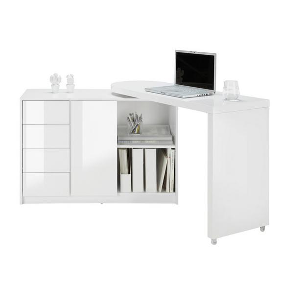 Comodă Matt - alb, plastic/compozit lemnos (166/77/42cm) - Modern Living