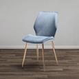 STUHL in Blau 'Lene' - Blau/Goldfarben, MODERN, Holz/Textil (45/87/55cm) - Bessagi Home