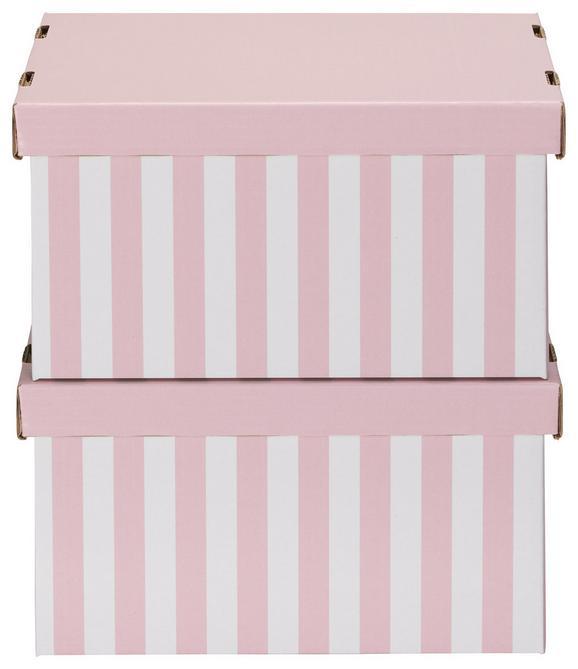 Box mit Deckel Jimmy Rosa/Weiß - Rosa/Weiß, Karton (34/18/25cm) - Mömax modern living