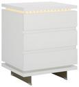 Nachtkästchen Weiß - Silberfarben/Weiß, MODERN, Holzwerkstoff/Metall (50/60/40cm) - Premium Living