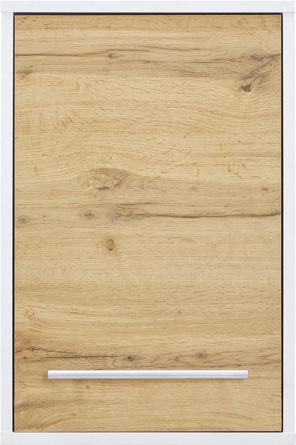 Oberschrank Weiß/Eiche Antik - Chromfarben/Eichefarben, MODERN, Holzwerkstoff/Metall (40/60/20cm) - Mömax modern living