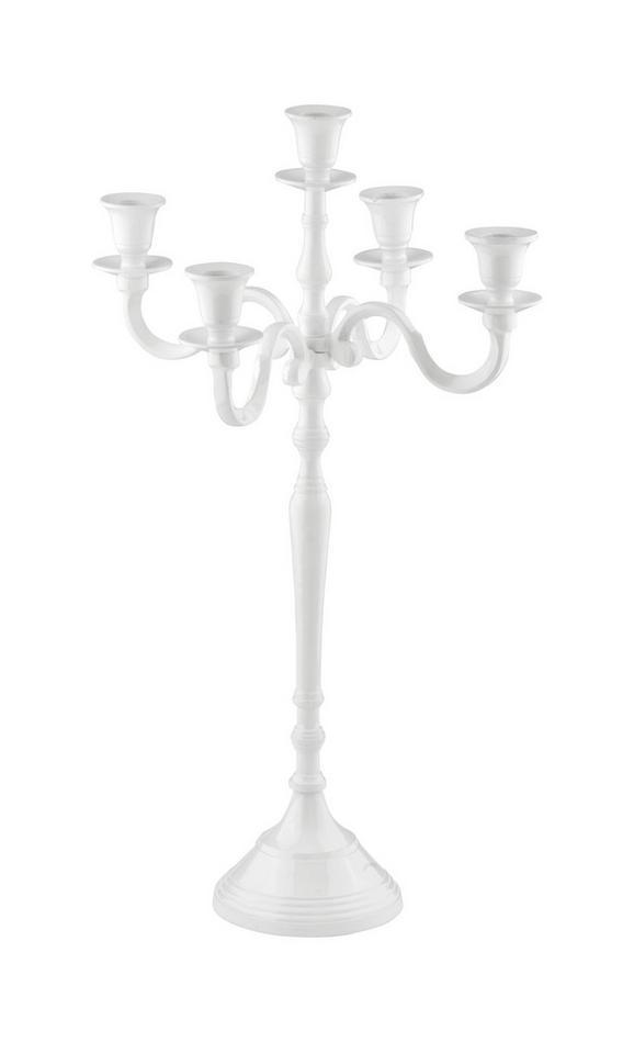 KERZENHALTER LIZ in Weiß - Weiß, ROMANTIK / LANDHAUS, Metall (30/50cm) - Ambia Home