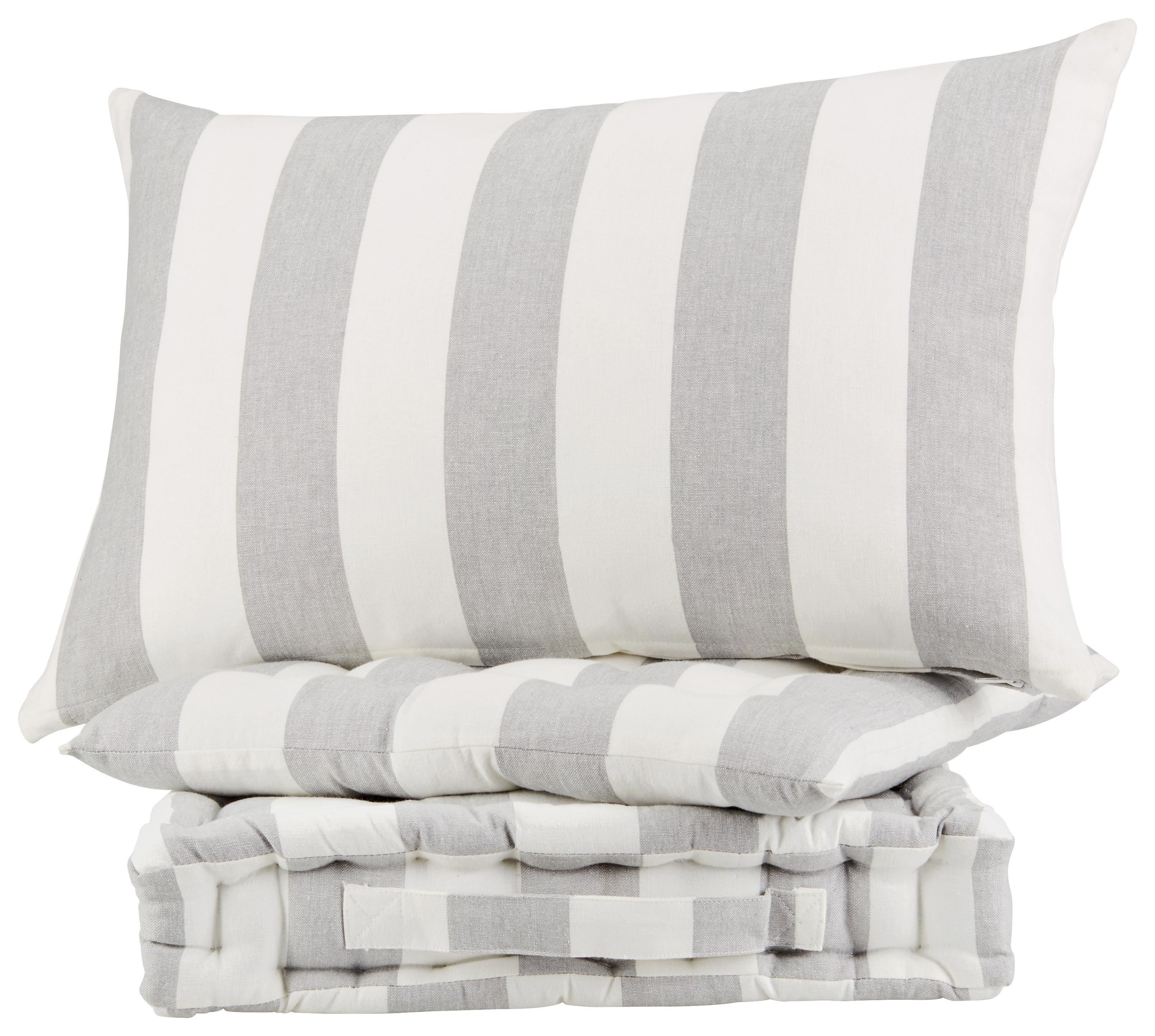 Zierkissen Blockstreif, ca. 40x60cm - Weiß/Grau, Textil (40/60cm) - MÖMAX modern living