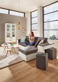 Wohnlandschaft Grau mit Bettfunktion - Weiß/Grau, MODERN, Kunststoff (260/150cm) - Modern Living