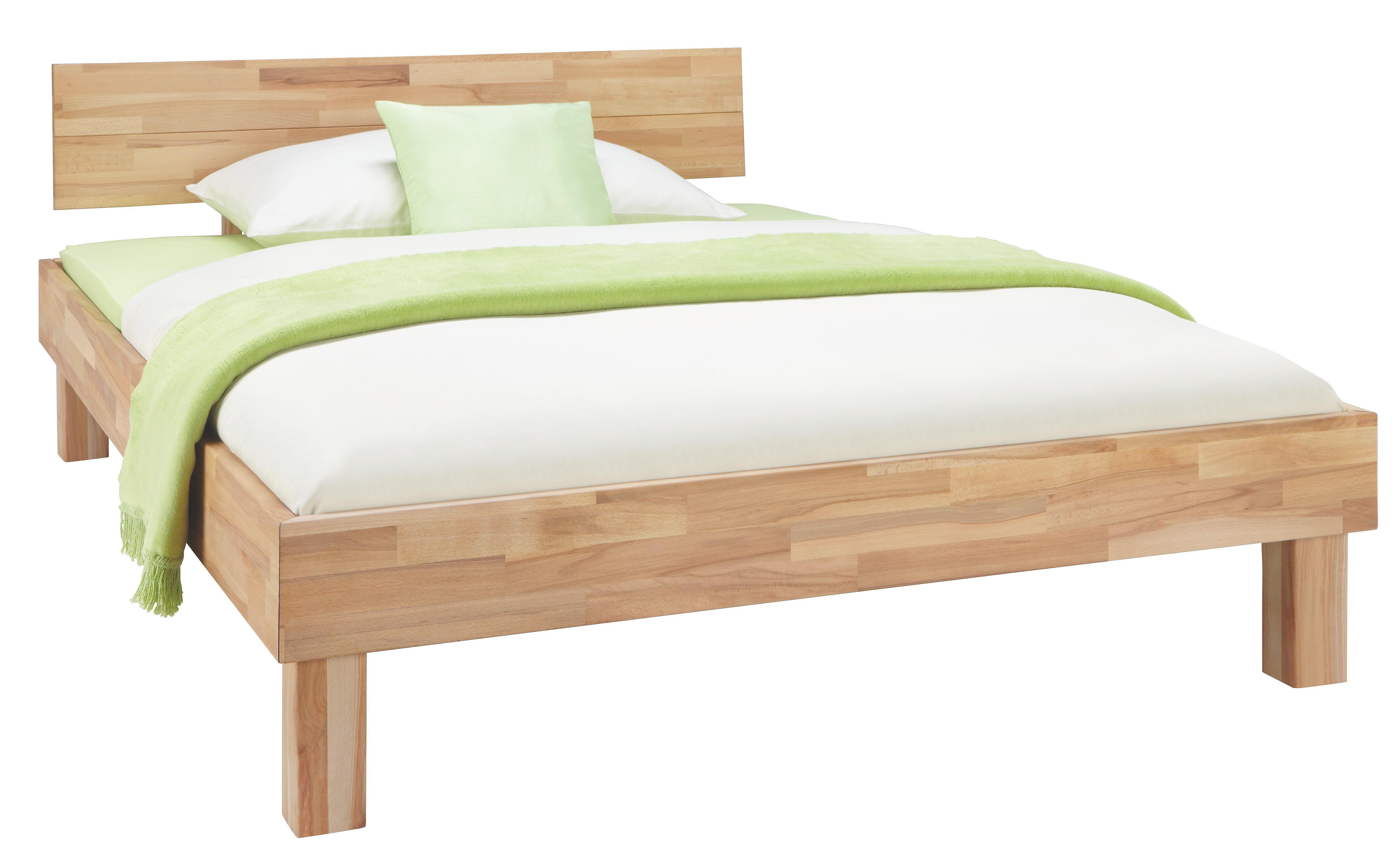 Bett in Natur, ca. 140x200cm - Naturfarben, KONVENTIONELL, Holz (211,5/145/80cm) - ZANDIARA