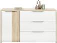 Kommode Weiß/Naturweiß - Eichefarben/Alufarben, KONVENTIONELL, Holzwerkstoff/Kunststoff (140/83/40cm) - Premium Living