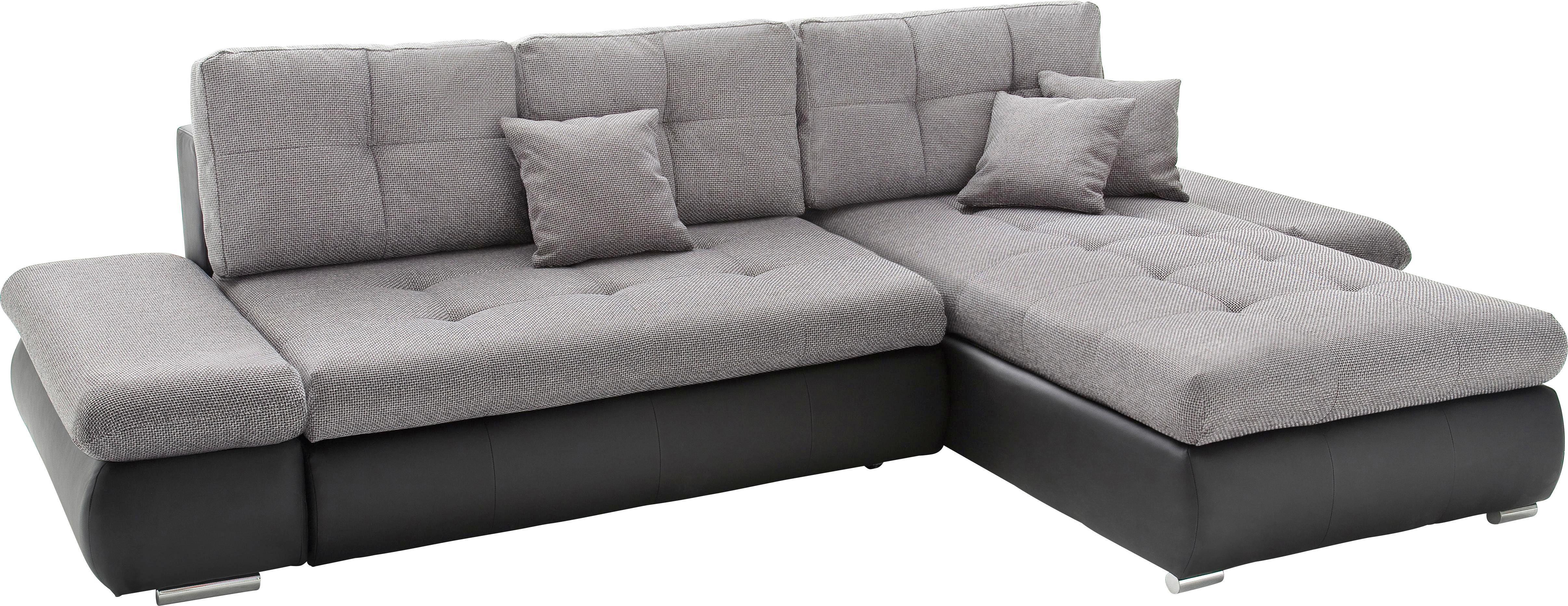 Wohnlandschaft Grau mit Bettfunktion - Schwarz/Grau, MODERN, Textil (303/185cm) - MODERN LIVING