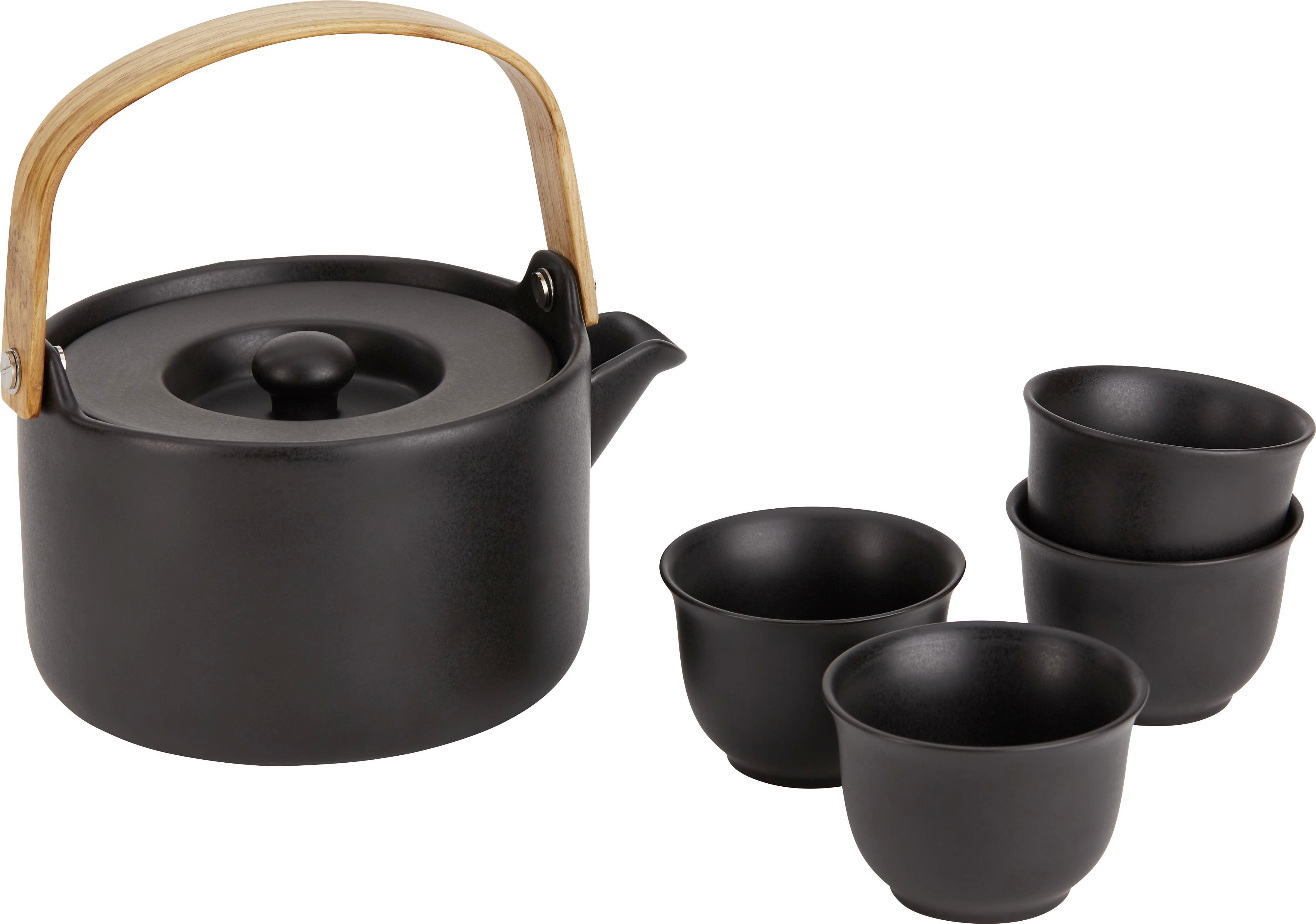 Teeset Ursi in Schwarz, 4-teilig - Schwarz, MODERN, Keramik - premium living