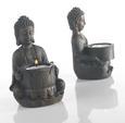 Teelichthalter Buddha in Braun Aus Kunstharz - Braun, LIFESTYLE, Kunststoff (9/14/9cm) - Mömax modern living
