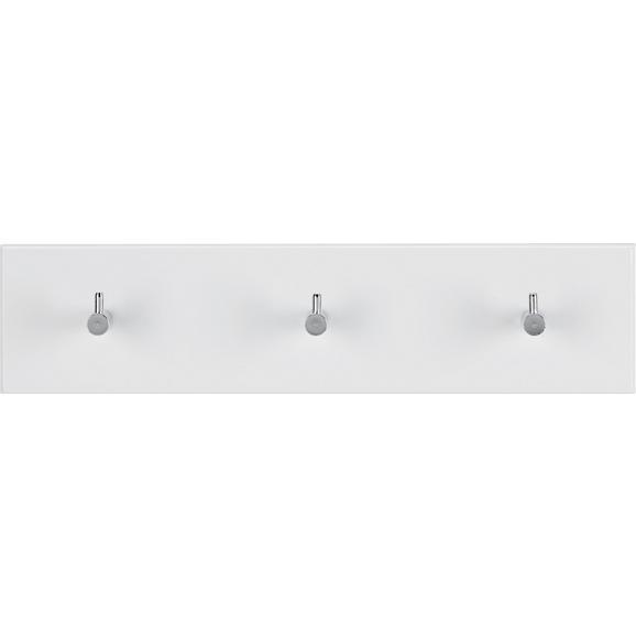 Wandgarderobe Weiß Hochglanz - Chromfarben/Weiß, Holzwerkstoff/Metall (34/5/8cm) - Mömax modern living
