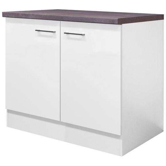 Spülenunterschrank Weiß - Edelstahlfarben/Weiß, MODERN, Holzwerkstoff/Metall (100/86/60cm) - FlexWell.ai