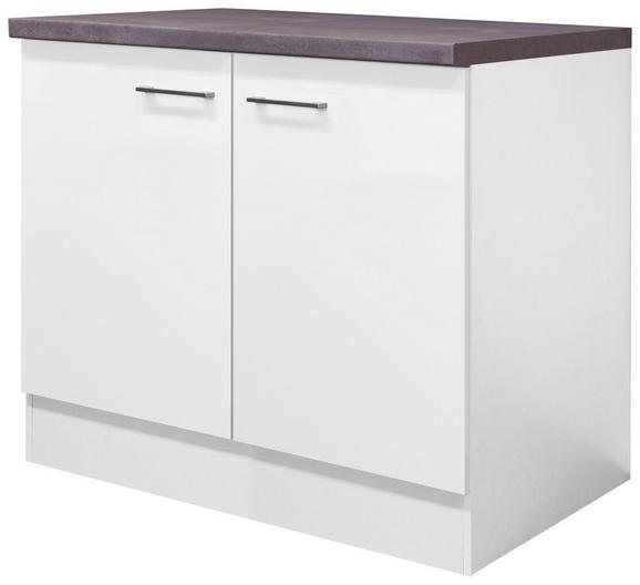 Spülenunterschrank Weiß - Edelstahlfarben/Weiß, MODERN, Holzwerkstoff/Metall (100/86/60cm)