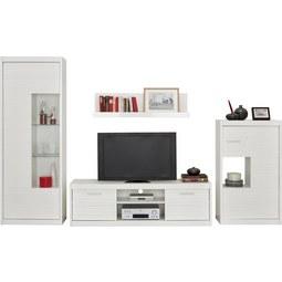 Wohnwand in Weiß inkl. Beleuchtung - Silberfarben/Weiß, MODERN, Holzwerkstoff/Metall (300/190/35-42cm) - Mömax modern living