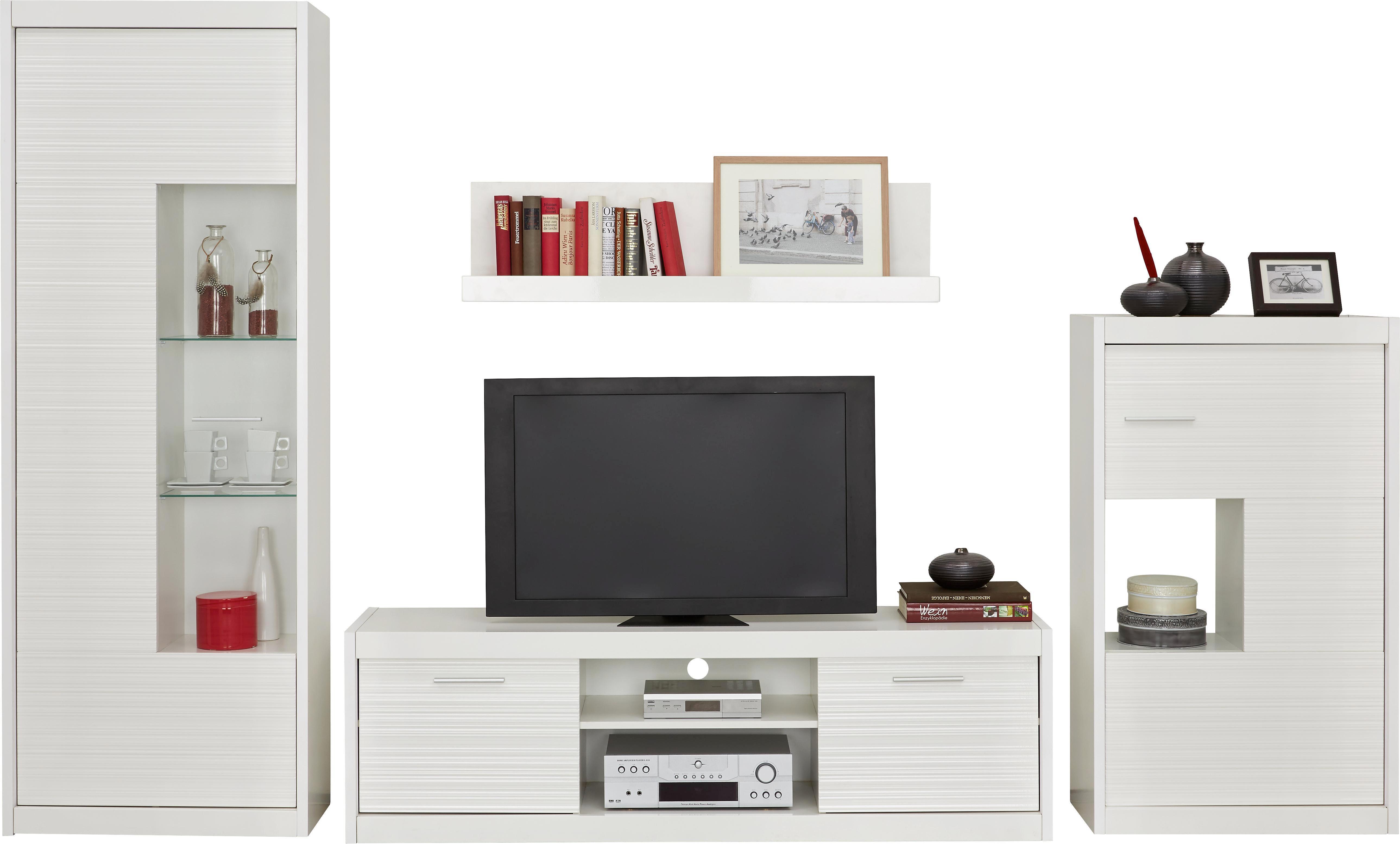 Wohnwand Weiß   Silberfarben/Weiß, MODERN, Holzwerkstoff/Metall (300/190