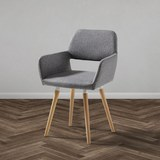 Stuhl Nala - Buchefarben/Hellgrau, MODERN, Holz/Textil (55/79/57cm) - Modern Living