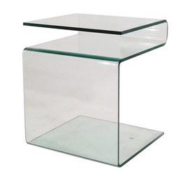 Kisasztal Bora - áttetsző, modern, üveg (38/48/42cm)