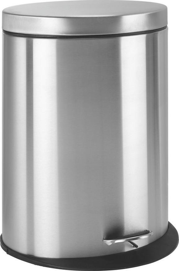 Treteimer Zoe Chromfarben ca. 20 Liter - Chromfarben/Schwarz, MODERN, Kunststoff/Metall (34/43,7/25cm) - Mömax modern living