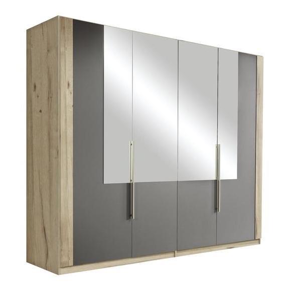 Dulap Cu Uși Rotative Complete - culoare lemn stejar/gri, Design, sticlă/compozit lemnos (228/213/60cm) - Ti`me