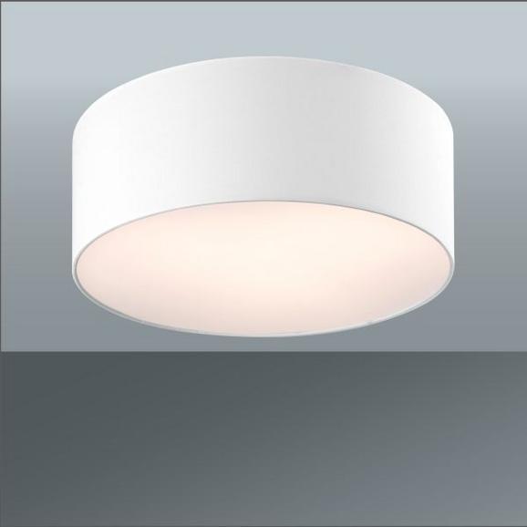 Deckenleuchte Decent in Weiß, max. 60 Watt - Weiß, ROMANTIK / LANDHAUS, Textil/Metall (40/15cm)