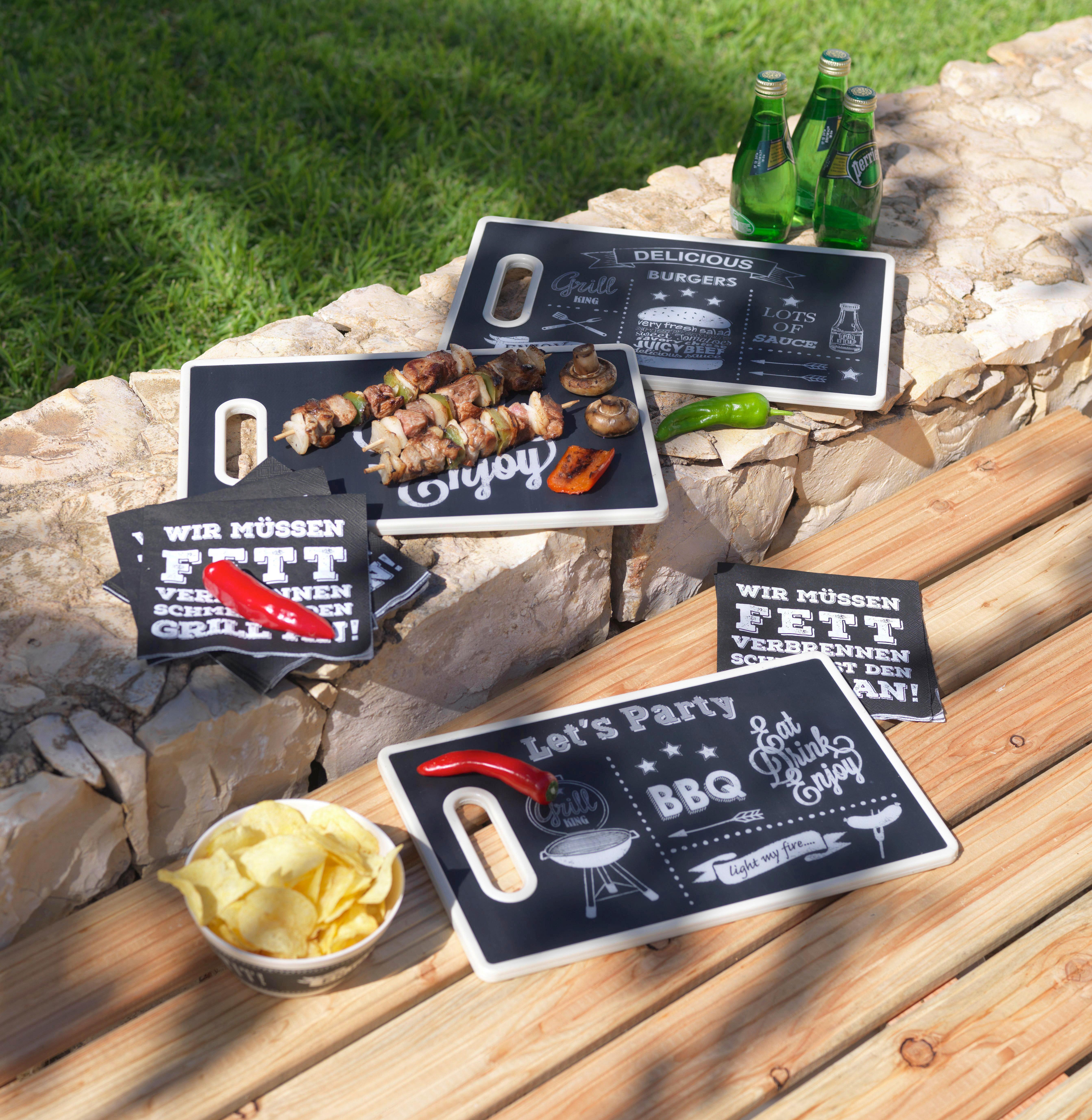 Schneidebrett BBQ in Schwarz/Weiß - Schwarz/Weiß, Kunststoff (36,5/22,5/12,5cm)