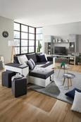 Wohnlandschaft Grau mit Bettfunktion - Weiß/Grau, Design, Kunststoff (260/150cm) - Modern Living