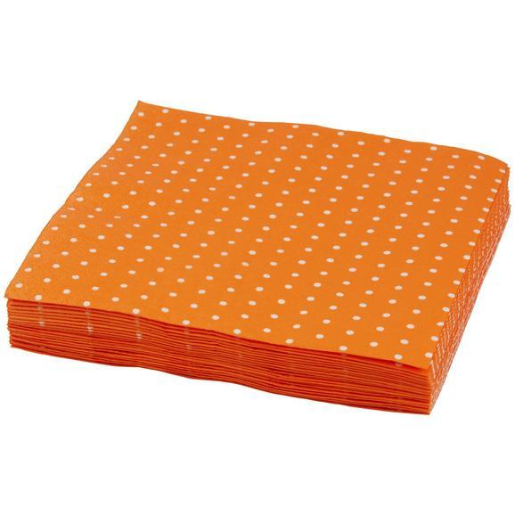 Serviete Mini Dots - bela/oranžna, papir (33/33cm)