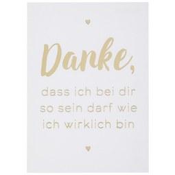 Postkarte Danke, dass ich - Goldfarben/Weiß, MODERN, Papier (10,5/14,8cm)