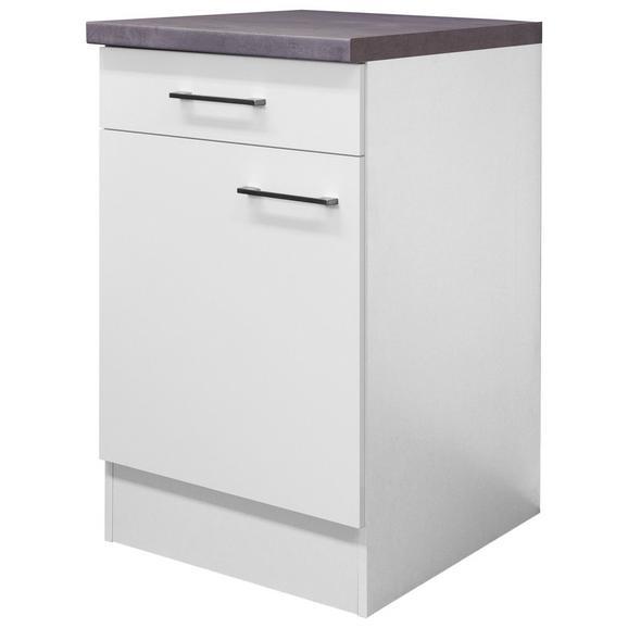 Küchenunterschrank Weiß - Edelstahlfarben/Weiß, MODERN, Holzwerkstoff/Metall (50/86/60cm) - FlexWell.ai