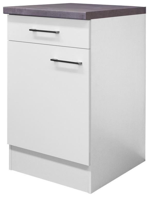 Küchenunterschrank Weiß - Edelstahlfarben/Weiß, MODERN, Holzwerkstoff/Metall (50/86/60cm)