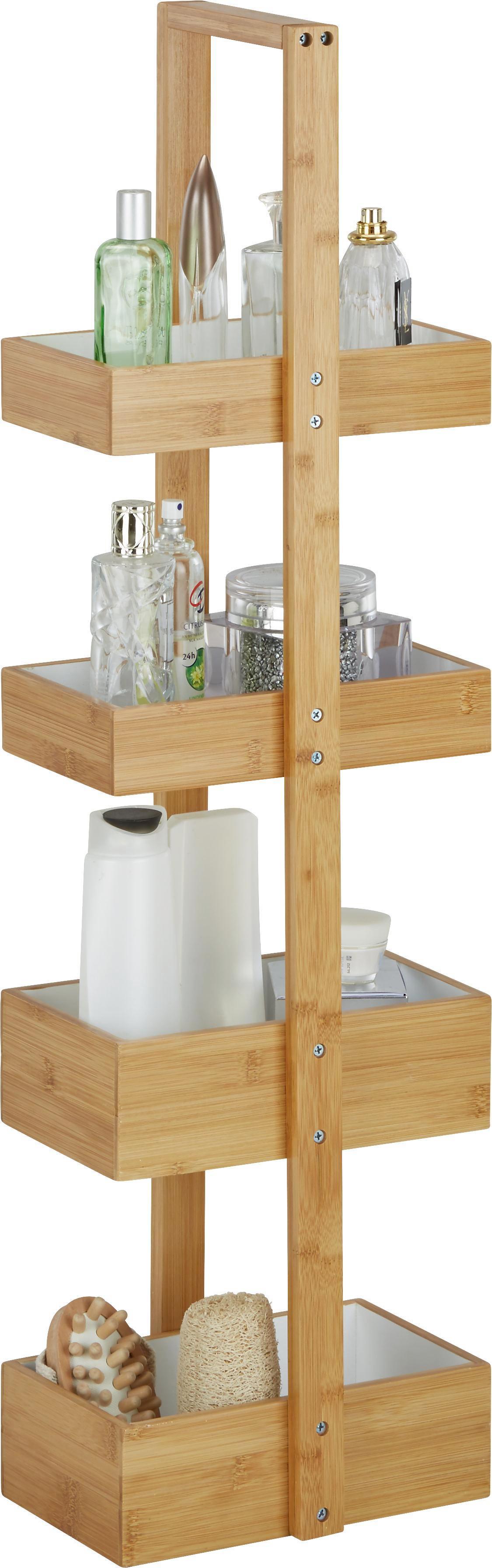 Standregal aus Bambus in Natur/Weiß - Naturfarben/Weiß, MODERN, Holz (25/88/18cm) - MÖMAX modern living