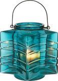 Teelichthalter Celine Ø/h ca. 18/17,33 cm - Blau/Schwarz, MODERN, Glas/Metall (18/17,33cm) - Mömax modern living