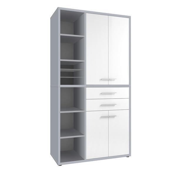 Regalkombination in Weiß/platinfarben - Platinfarben/Alufarben, MODERN, Glas/Holzwerkstoff (117,3/216,4/40cm) - Premium Living