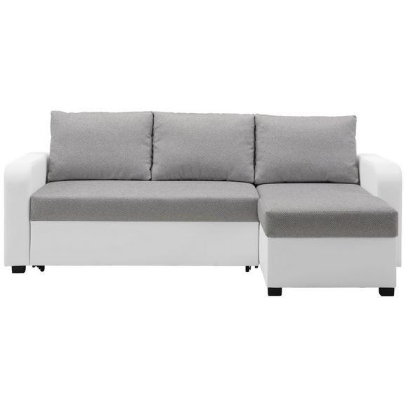 Sarokgarnitúra Clint - Szürke/Fehér, konvencionális, Textil (225/152cm) - Modern Living